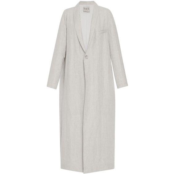 Sea     Relaxed Sand Maxi Coat (4,440 CNY) ❤ liked on Polyvore featuring outerwear, coats, tan, lapel coat, long sleeve coat, sea, new york, collar coat and maxi coat