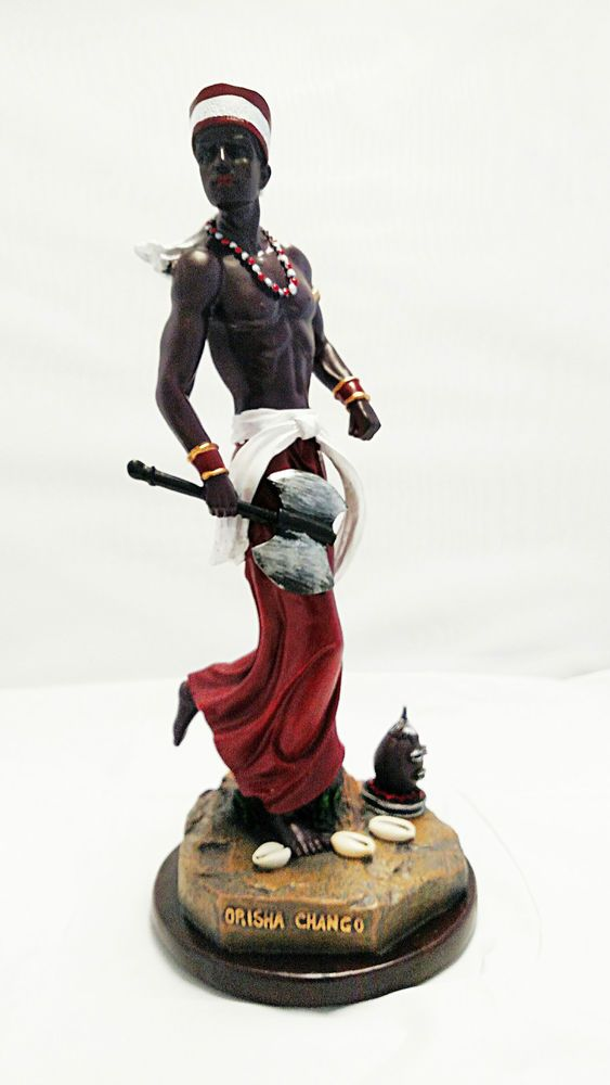 "14.5"" Chango Shango Statue Estatua Orisha Santeria Yoruba Lucumi Figurine"