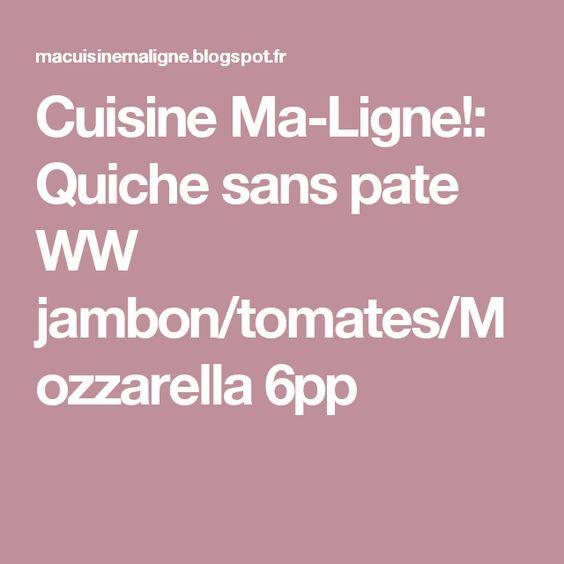 Cuisine Ma-Ligne!: Quiche sans pate WW jambon/tomates/Mozzarella 6pp