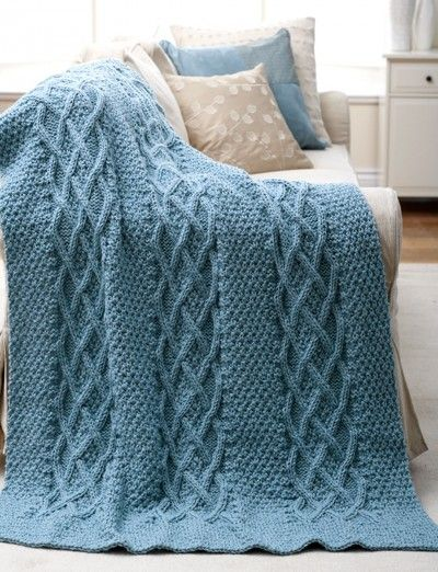 Knitting Afghan Patterns Pinterest : FREE - Cushy Cables Afghan - Patterns Yarnspirations ...