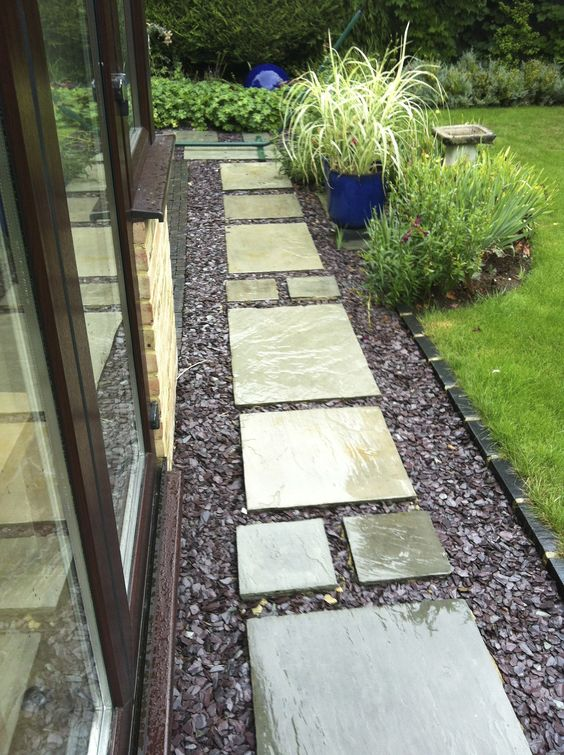Front yards slate and paths on pinterest for Paved front garden designs