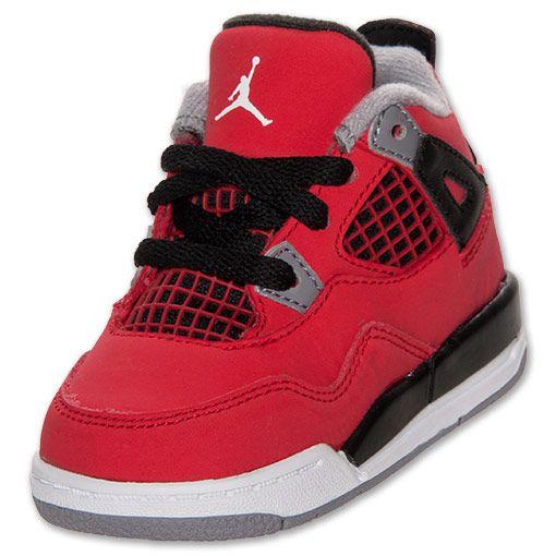 Boys' Toddler Jordan Retro 4 Basketball Shoes| FinishLine.com | Fire Red/White/Black/Cement Grey