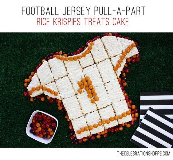 Football Jersey Pull-A-Part Rice Krispies Treats Cake