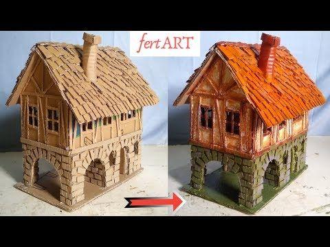 Diy Miniatur Rumah Dua Tingkat Dari Kardus Cardboard Craft Diy Youtube Miniatur Rumah Kerajinan Kardus Kerajinan Diy
