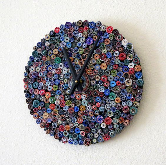 Recycled Wall Clock, Decor and Housewares, Paper Decor, Home Decor, Home and Living, Eco Friendly Decor, Unique Clock, Graduation Gift