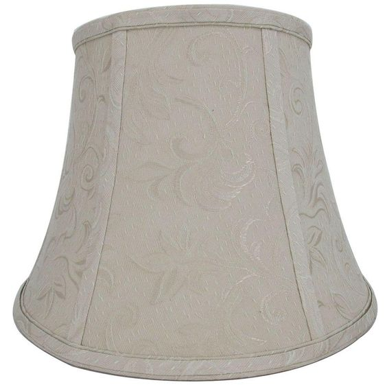 Hampton Bay Mix & Match Beige with Shadow Embroidery Round Bell Table Lamp Shade