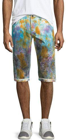 PRPS Paint-Splattered Slim-Fit Shorts, White/Multi - https://api.shopstyle.com/action/apiVisitRetailer?id=526309747&pid=uid2729-23324277-58
