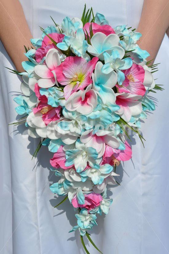 Tropical Aqua And Fuchsia Frangipani Plumeria Dendrobium Orchid And Hibiscus Cascade Bridal Bo Flower Bouquet Wedding Blue Wedding Bouquet Bridal Bouquet Blue
