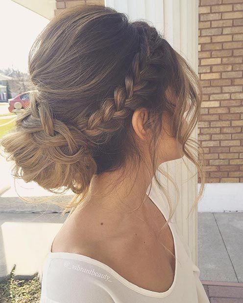 Braid In A Low Bun Updo Hairstyle For Prom Long Hair Wedding Styles Prom Hairstyles For Long Hair Medium Hair Styles