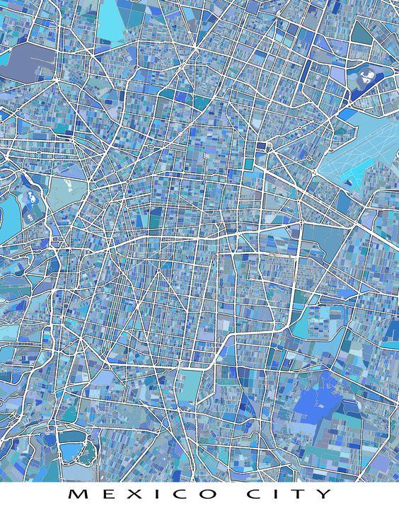 Mexico City Map Art Print, Mexico City Poster, Travel Maps ...