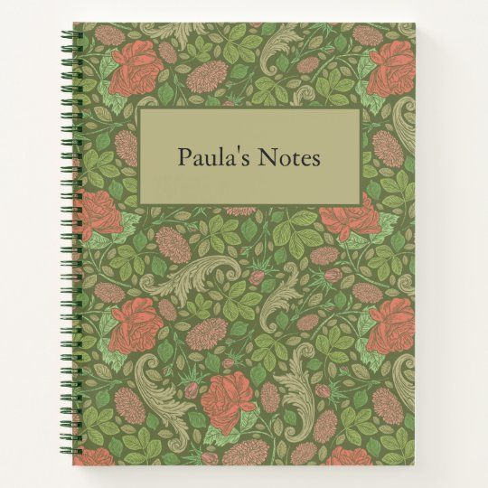 Victorian Vintage Red Roses Pink Mums Floral Notebook | Zazzle.