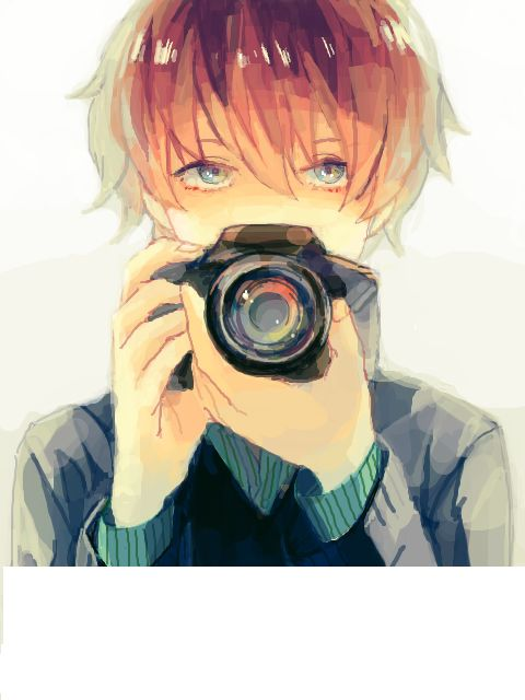 Anime Boy w/ Camera. His eyes are very beautiful and I like the soft muted colors and lines too.: