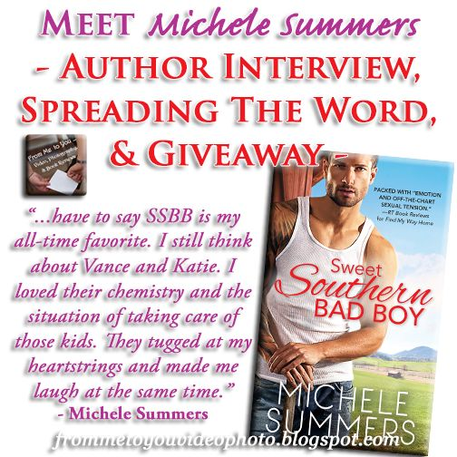 Blog Tour - Sweet Southern Bad Boy by Michele Summers | Interview, Spreading the Word, & Novel Giveaway