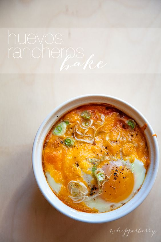 huevos-rancheros-bake-recipe-#whipperberry: Huevos Rancheros, Food Breakfast, Rancheros Baked, Ramekin Recipe, Baked Huevos, Simple Recipe, Huevos Bake, Breakfast Brunch