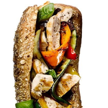 Grilled Chicken and Vegetable Hero sandwich