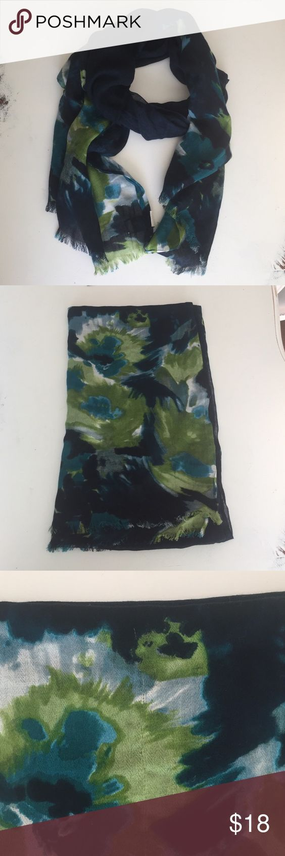 Abercrombie & Fitch floral scarf Abercrombie & Fitch navy/greens/blues floral cotton scarf, worn a few times, slight snag as pictured but not noticeable while wearing Abercrombie & Fitch Accessories Scarves & Wraps