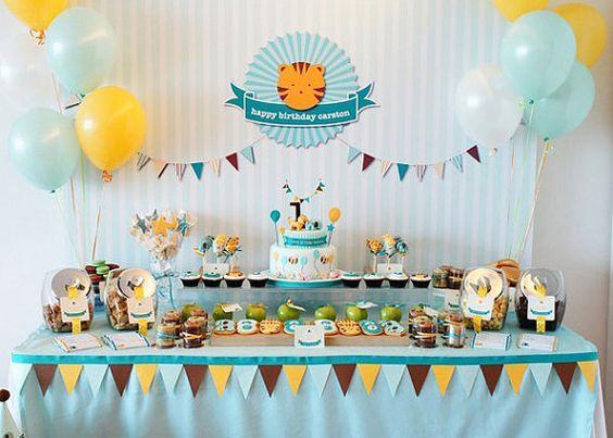 Printable backdrop  Tiger and elephant birthday party by envyanvi, $12.00
