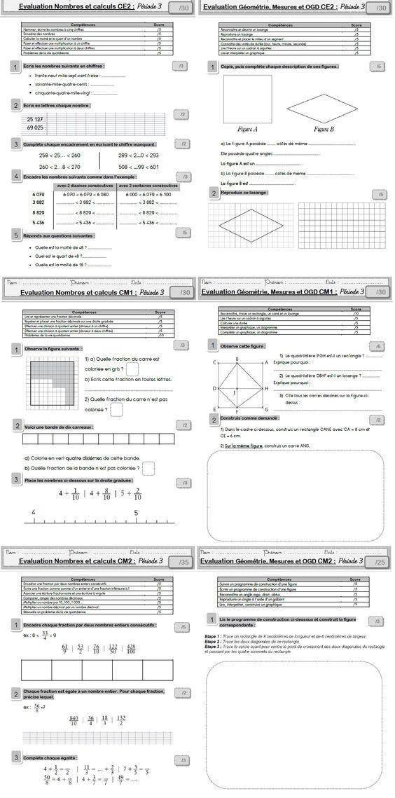 Evaluations de maths p riode 3 mot de passe alicecycle3 for Les multiplications cm2