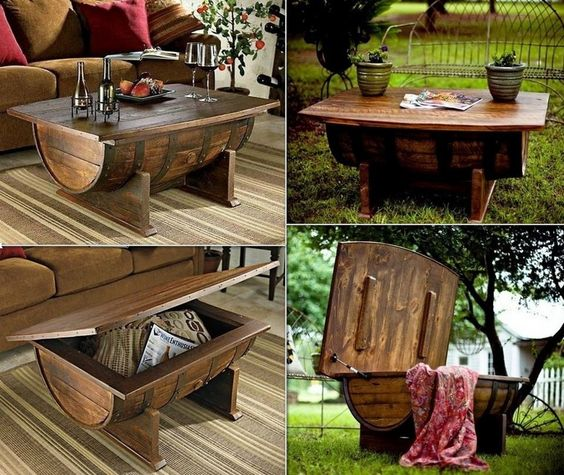 Wine keg reuse- great outdoor coffee table. Can also use clay pots flipped over with glass top.