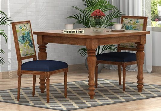 Bonita 2 Seater Printed Dining Set Teal Tulip Natural Finish 2 Seater Dining Table Dining Table Dining Table Setting