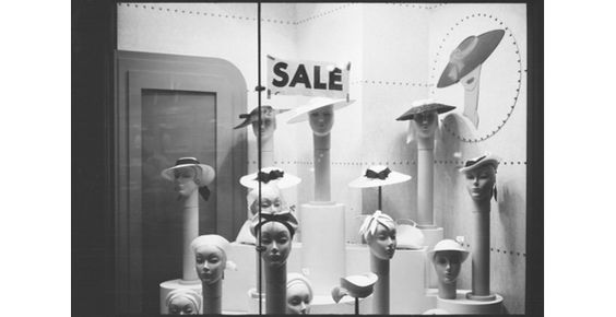 vintage retro ..Hats and mannequins in shop window, New York,1940s