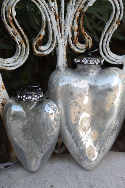 Mercury glass: Antique Mercury, Mercury Glass, Glass Ornaments, Valentine, Heart Ornaments
