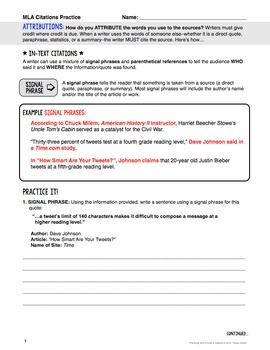 Worksheet Mla Citation Practice Worksheet style and exercise on pinterest mla format 8th edition citations instructions practice examples