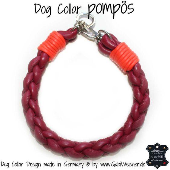 Dog Collar pompös Dunkelrot-Orange