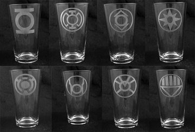 Blackest Night Lantern Corps Etched Pint Glass Set