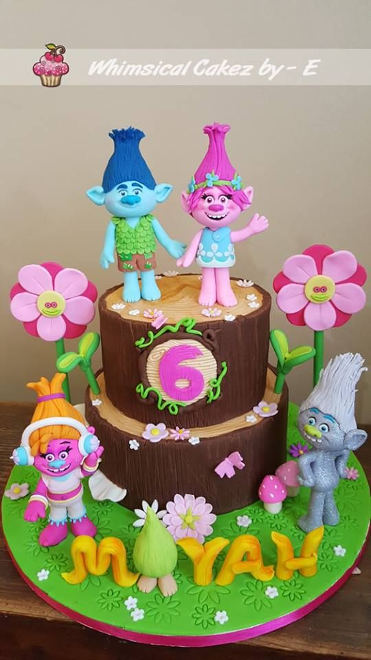 Trolls birthday cake Fondant trolls figurines Poppy, Branch, Fuzzbert, DJ Suki and Guy Diamond