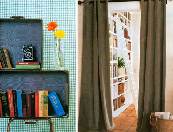use old suite cases to display your books :)
