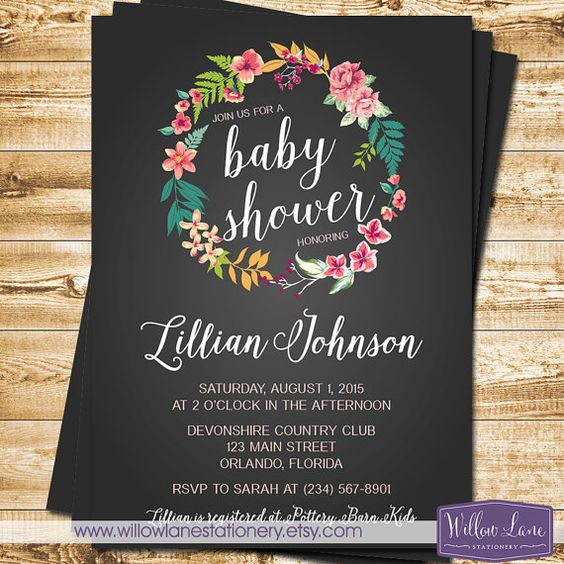 Tropical Baby Shower Invitation Chalkboard Island Flowers Hawaiian Luau - Floral Wreath Girl Baby Shower Invite - 1393 PRINTABLE