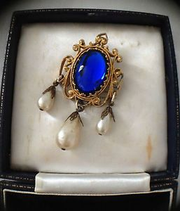 Vintage Baroque Style Brooch Huge Blue Cabochon Faux Pearl Dangly Brooch | eBay