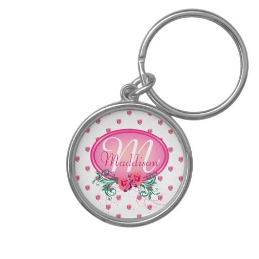 Pink Frame Monogram Rose Key Chain - This key ring has lots of pink roses all over. It has a pink monogram frame with roses and green foliage in which to place your name and initial. This would make a wonderful first car gift for your daughter, or a nice, personal Christmas or birthday gift for your wife or mother.