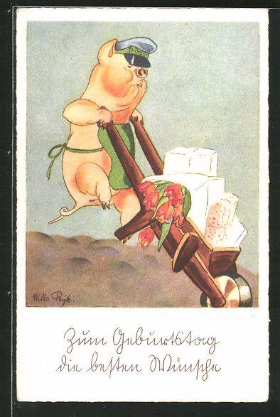 Künstler-AK Hilla Peyk: Schwein als Briefträger mit Schubkarre 0