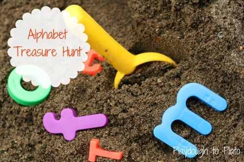 """play outside: Alphabet Sandbox Treasure Hunt...could also do this as a """"nature walk"""" activity--try to spot outdoor things that start with each letter of the alphabet. For my sis in law with new sandbox"""