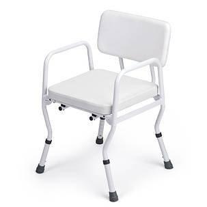 Comfort douchestoel met rugleuning  Comfort douchestoel met rugleuning Douchestoel met verwijderbare rugleuning. Deze douchestoel is eenvoudig in hoogte te verstellen. Gemaakt van een roestvrij staal en zeer stabiel. De rubberen doppen onder de douchestoel zorgen ervoor dat de stoel stabiel blijft staan in de douche. Productspecificaties van de Comfort douchestoel met rugleuning: - Extra: zachte gepolsterde zitting en rug. - Zithoogte verstelbaar van 46 - 56 cm. - Hoogte armleuningen 22cm…