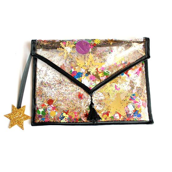 >><< Small Rainbow Sequin Confetti and Glitter Clutch by LunaontheMoon