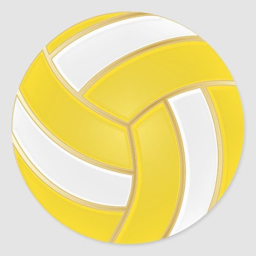 Yellow Gold And White Volleyball Classic Round Sticker Zazzle Com In 2020 Volleyball Mom Shirts Volleyball Volleyball Gifts
