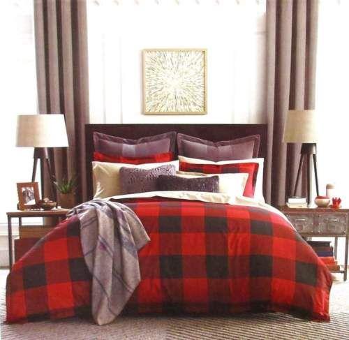 Tommy Hilfiger Red Black Buffalo Plaid Lodge Cabin Full Queen Comforter Set 3pc Comforter Sets Plaid Comforter Comforters