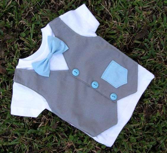 Custom Tuxedo Onesie or Shirt Gray Vest with Blue buttons bowtie and faux pocket ANY COLOR and SIZE - Christmas outfit or gift for baby boy. $26.00, via Etsy.