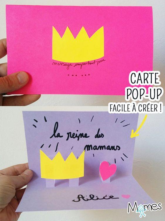 Réalisez très facilement une carte fête des mères en Pop-up qui fera un effet complètement WAHOU ! Une version couronne pour la reine des mamans, mais facilement déclinable en fleurs, coeur, ballon etc... Avec notre bricolage, vous verrez que la technique du pop-up est tout à fait accessible aux enfants !