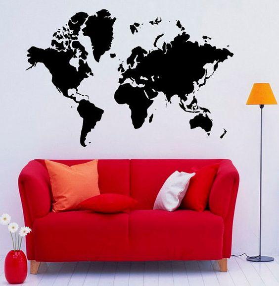 Wereld kaart muur Vinyl Decal Sticker Art Design door Rossstickers