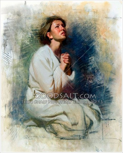 A woman kneels in prayer, hands folded, a look of longing or pleading on her face and in her posture.