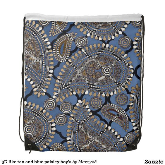 3D like tan and blue paisley boy's Backpacks