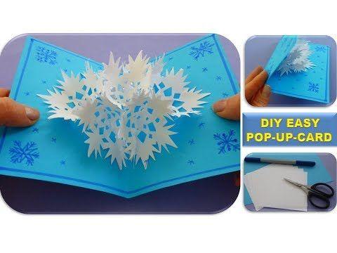 Diy 3d Snowflake Pop Up Card Christmas Gifts Easy Ideas Schneeflocke Youtube Diy Christmas Cards Easy Diy Christmas Cards Pop Up Christmas Cards