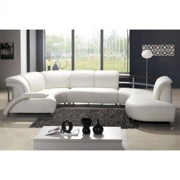 VIG Off-White Leather Chaise Sectional Sofa