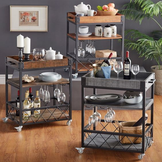 Bentley Industrial Metal And Wood Wheeled Kitchen Serving: Myra Rustic Mobile Serving Cart With Wine Inserts And