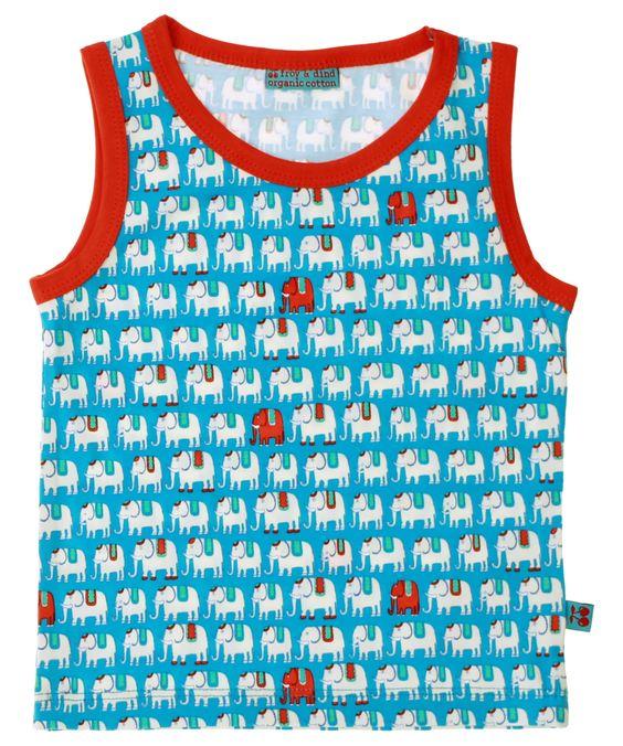 Froy & Dind elefant printed tank top in blue. froy-en-dind.en.emilea.be