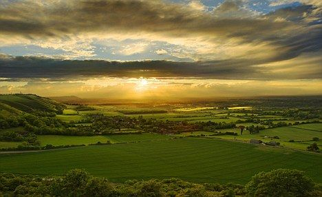 Sunset over the South Downs in Sussex, England
